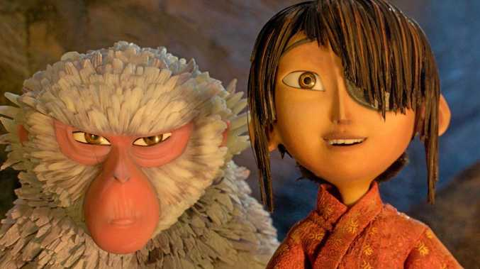Monkey (voiced by Charlize Theron) and Kubo (voiced by Art Parkinson) in a scene from Kubo and The Two Strings.