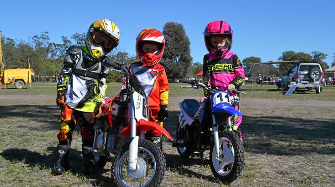 BUDDING BIKERS: Zeden Baker with Jack and Kayla Burton at the Chinchilla State School P&C; mini trail ride and family fun weekend.
