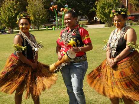 Samoan dancers (from left) Odessa Elisaia, Faiga Ene, Teresa Sialeipata, Rose Chong Nee and Maria Choing Nee launch Toowoomba Languages and Cultures Festival 2016 earlier this year.