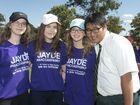 Jayde's school friends (from left) Hayley Muller, Jordan Moyle, Bridgette Muller and Daniel Cole at the Jayde Kendall day of awareness walk.
