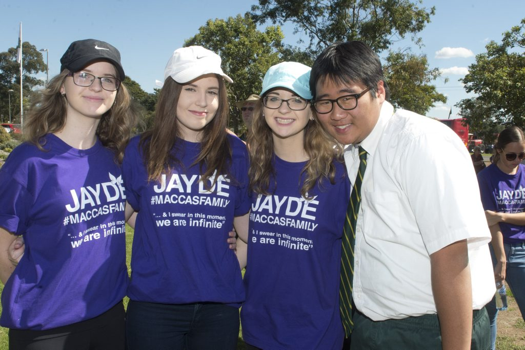 Jayde's school friends (from left) Hayley Muller, Jordan Moyle, Bridgette Muller and Daniel Cole at the Jayde Kendall day of awareness walk.