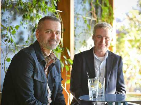 CRIME FICTION: Former Gladstone residents Chris Irons and Stephen Mcloughlin are writing a book with the working title Deep harbour, it will be set in Gladstone in the 1980s.Photo Mike Richards / The Observer