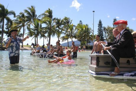 Captian Dan introduces the fleet to the crowd. Photo Peter Carruthers / Whitsunday Times