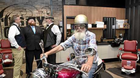 SADDLE UP: Wally Williams on his 1963 Triumph launches the Distinguished Gentleman's Ride with Downs Motorcycle Sporting Club members (from left) Geoff Priest, Andrew Keleher and JJ Rodgers.