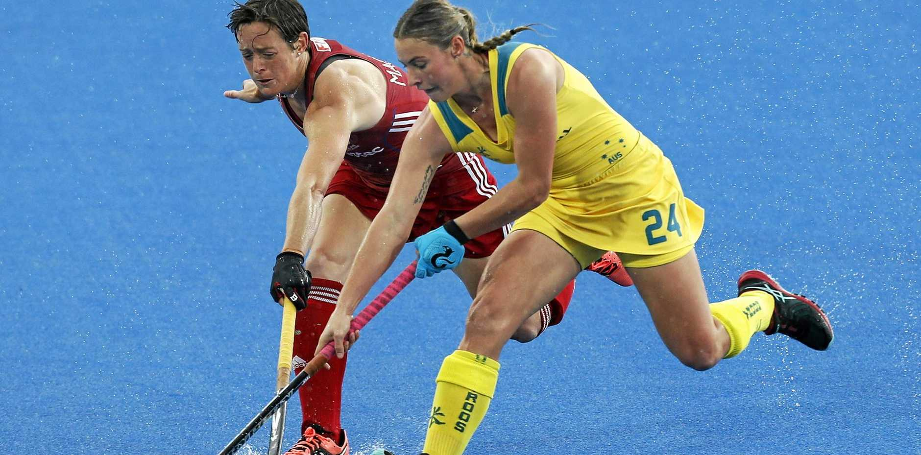 Mariah Williams, right, was on target for the Hockeyroos against Japan.