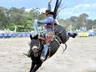 Michael Maher, pictured at his hometown rodeo in Warwick, won a third successive Mt Isa Rodeo today in saddle bronc.
