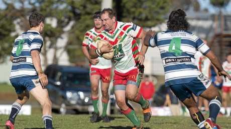 HIT UP: Pittsworth captain Matthew Briggs gets the Danes attack moving forward. against Brothers at Glenholme Park.
