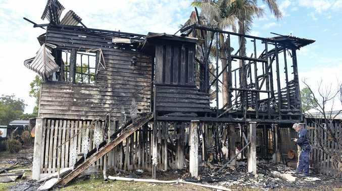 A house was destroyed by fire on Range Rd in Sarina.