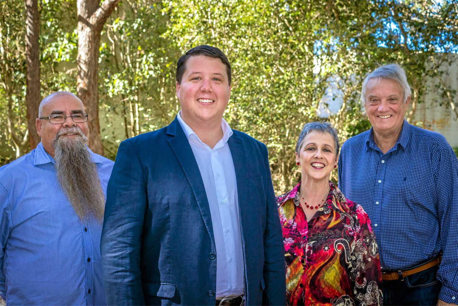 ON THE CAMPAIGN TRAIL: Tweed Shire Council Candidates Russell Logan, Reece Byrnes, Marie Rogers and Rob Learmonth.
