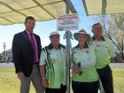 Southern Cross Bowls Club management committee chair Claire Hope, women's president Daphne Cook, and men's president David Scotney were joined by Member for Southern Downs Lawrence Springborg for a special afternoon of bowls on Saturday. Photo Sophie Lester / Warwick Daily News