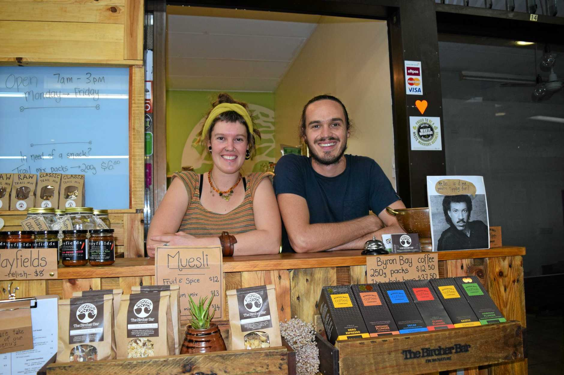 OPEN FOR BUSINESS: Lismore's Bircher Bar owners Georgia Philp and Darcy Ogdon-Nolan at their cafe and commercial kitchen in Lismore's Summerland Arcade. They are one of several new businesses to open in Lismore in the last six months.