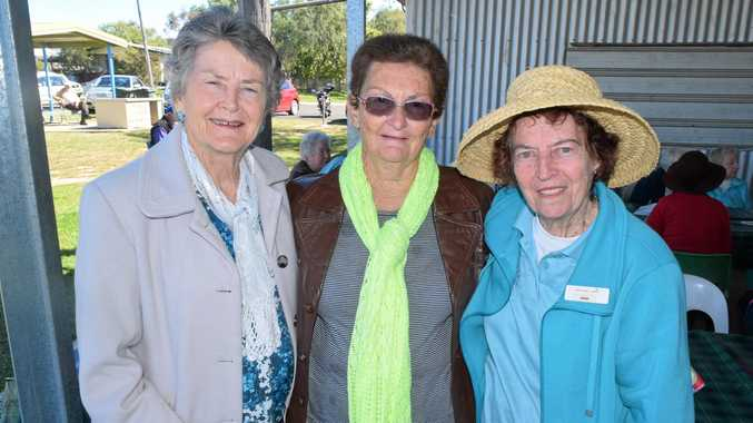 Fay Stephenson, Estelle Burey and Jean Johnson at the Opening Lunch for Senior's Week at Lion's Park on Sunday.
