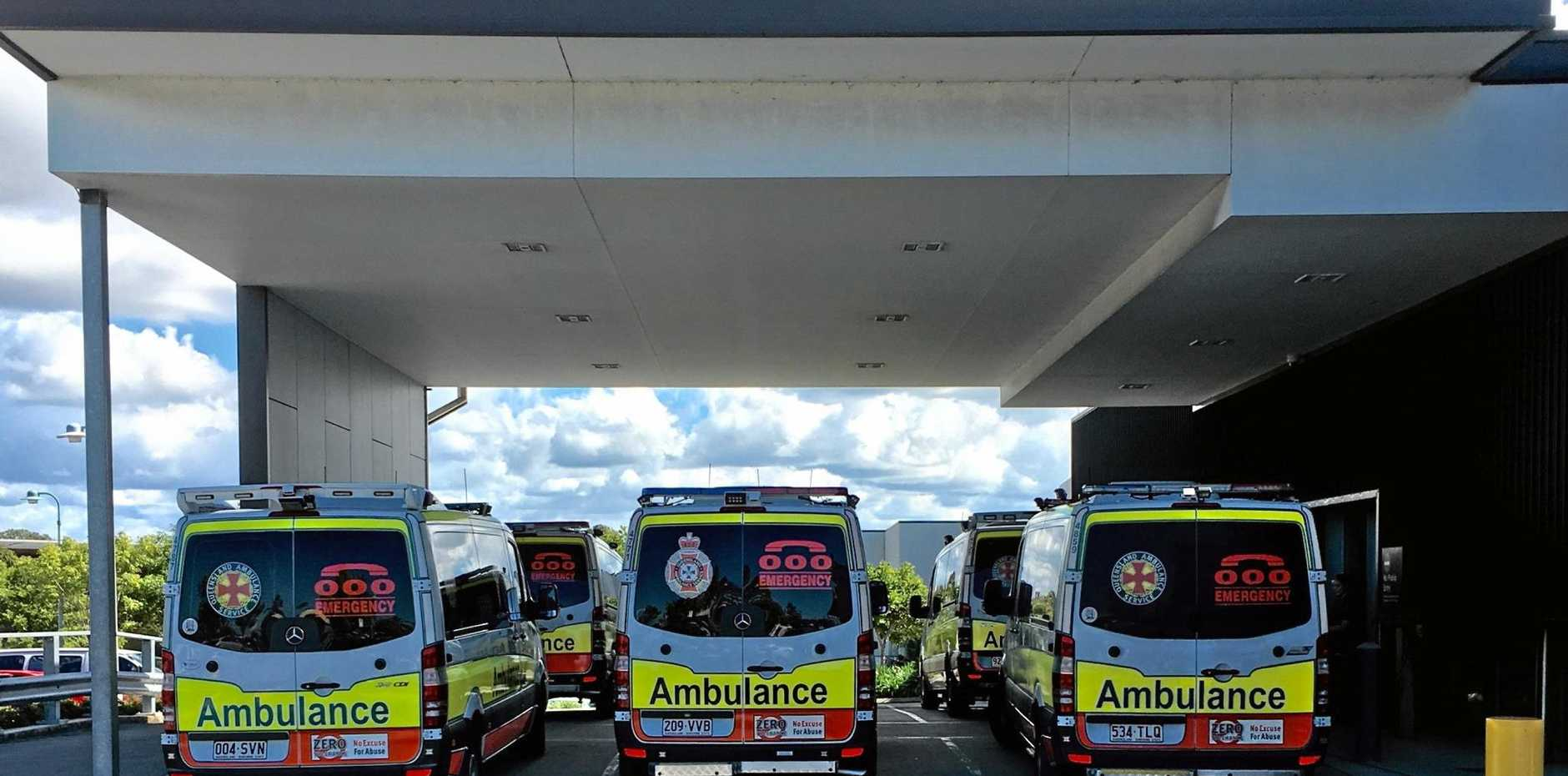 LINE UP: Ambulances lined up at Caloundra Hospital. It wasn't ramping though says the Coast's health service.