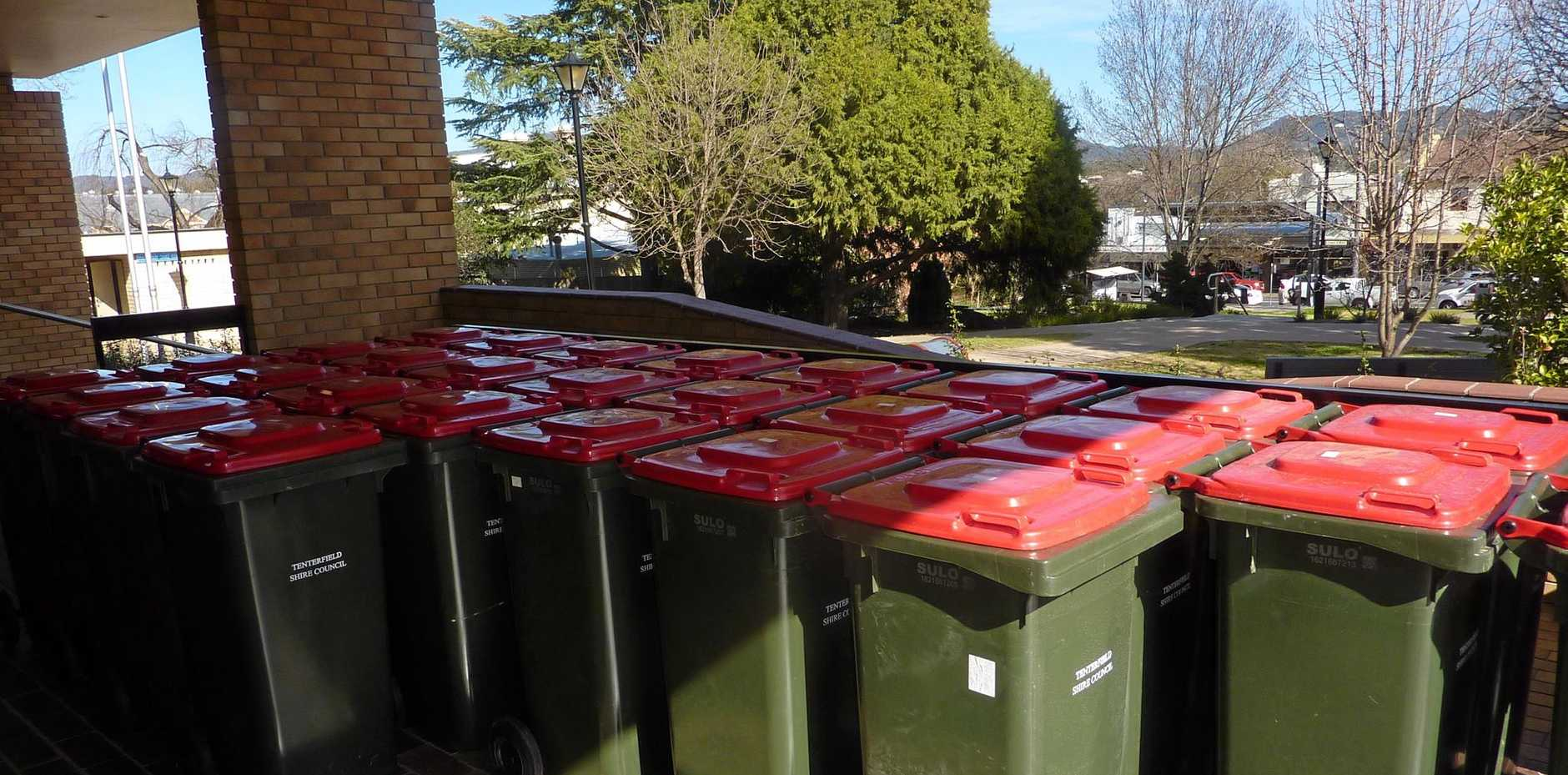 BIG LOAD: The first load of 27 bins left at Tenterfield Shire Council offices by Liston residents.