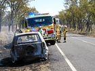 VIDEO: Fire crews battle car blaze outside Injune