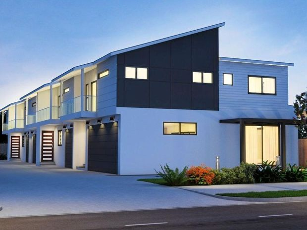 Artist's impression of a five-townhouse cluster proposed for Nicholls St, Caloundra. Designs and  building methods are subject to change and Sunshine Coast Council approval.