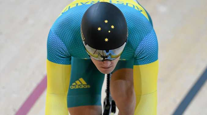 TO THE FOUR: Australia's Matthew Glaetzer rides in the men's sprint.