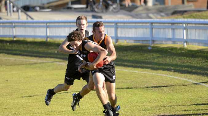 EFFORT: Grafton Tigers' Luke Stanford tackles a Magpies' attacker earlier in the seaon. Stanford has been a standout for the Tigers all season.