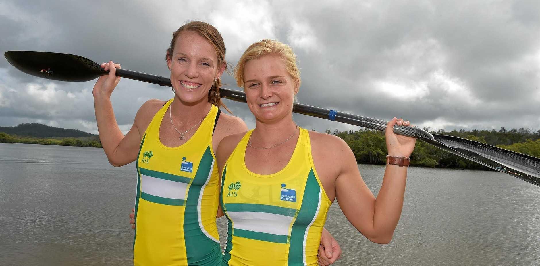 Alyce Burnett and Alyssa Bull are set for the Olympics as part of the kayak team. Photo: Warren Lynam / Sunshine Coast Daily