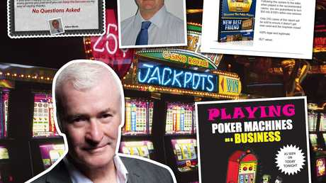 "Self-proclaimed Aussie ""pokie king"" Peter Liston (main) reckons he turned ""$500 into millions"" and ""so can you"". Adam Morris (small inset) is the ""Author of Pokie Secrets, Australia's #1 selling book on pokies""."