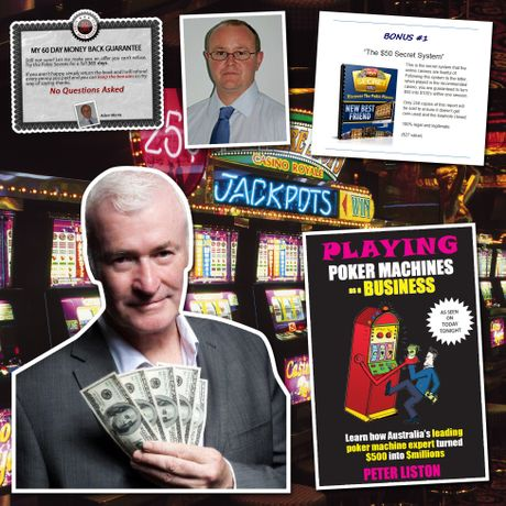 """Self-proclaimed Aussie """"pokie king"""" Peter Liston (main) reckons he turned """"$500 into millions"""" and """"so can you"""". Adam Morris (small inset) is the """"Author of Pokie Secrets, Australia's #1 selling book on pokies""""."""