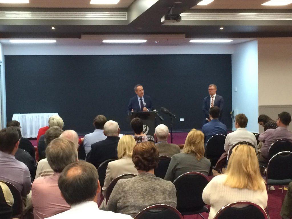 Opposition leader Bill Shorten at the community forum in Rockhampton