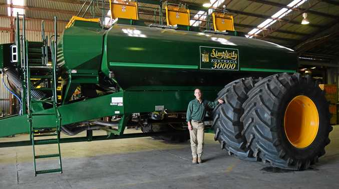 BIG TASK: Simplicity manager Troy Law with the company's new 30,000-litre air seeder.