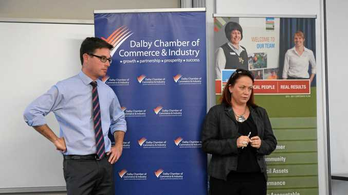 LOCAL CONCERNS: Member for Maranoa David Littleproud and Trudi Bartlett from the Dalby Chamber spoke with locals.