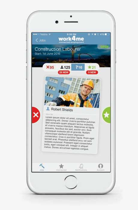 The smart phone app can be described as a Tinder for work.