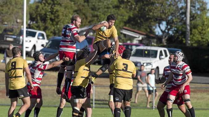FINALS FOES: Goondiwindi's Matt Bell wins the ball in a line-out against Toowoomba Rangers this season.