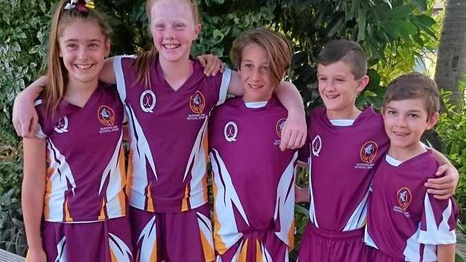 GOLD: Toowoomba hockey players Peppa Carter, Claire Brophy, Bailey Rutledge, Jack Hawthorn and Ryan Bidgood.