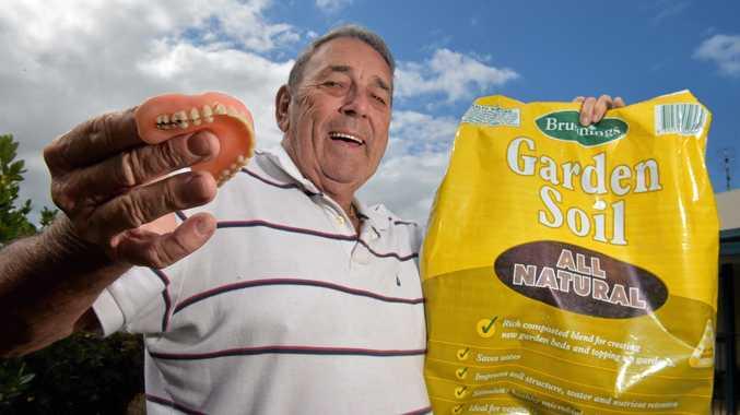Graham Boardman found a set of false teeth in a bag of potting mix.