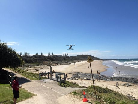 SOPHISTICATED: The Mini Ripper in action over Shelly Beach on Sunday.