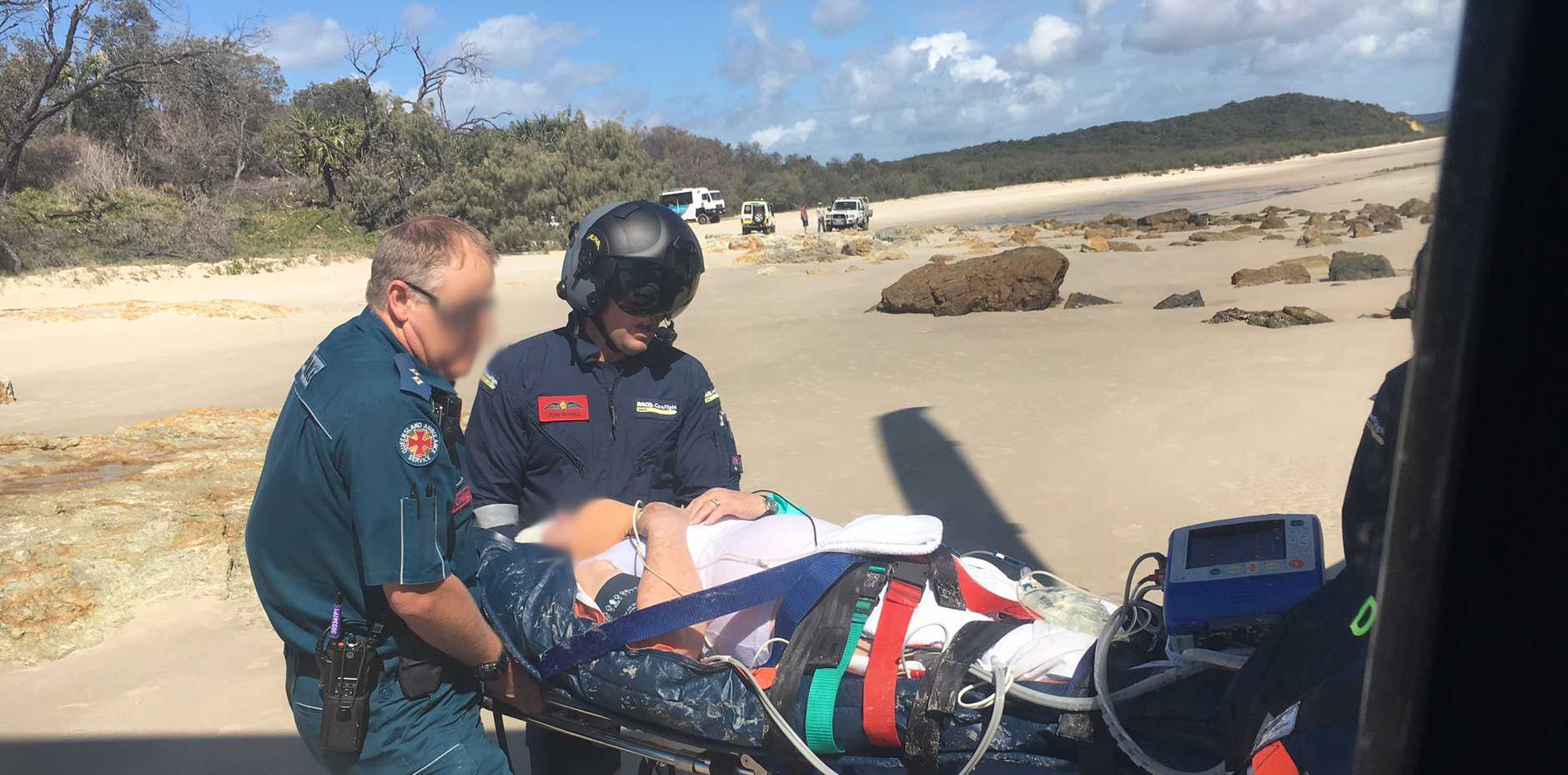 A woman was rescued by the RACQ chopper off Moreton Island today