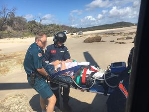 Woman airlifted off Moreton Island
