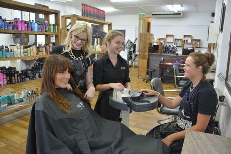 At John's Hair Studio are (from left) Bronte Antonio, Ebony Wright, Amanda Gray and Chelsea Lasseree