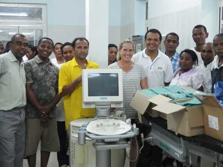 Dr Lanziz Homar (sixth from right) on a recent trip to Madagascar. Photo Contributed