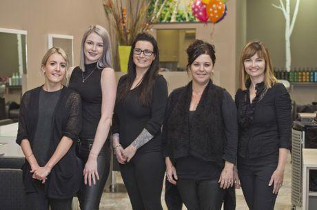 Pure Hair staff (from left) Kayleigh Boswell, Greta Vanderham, Courtney Madden, Michelle Riley and Taryn Hunter.