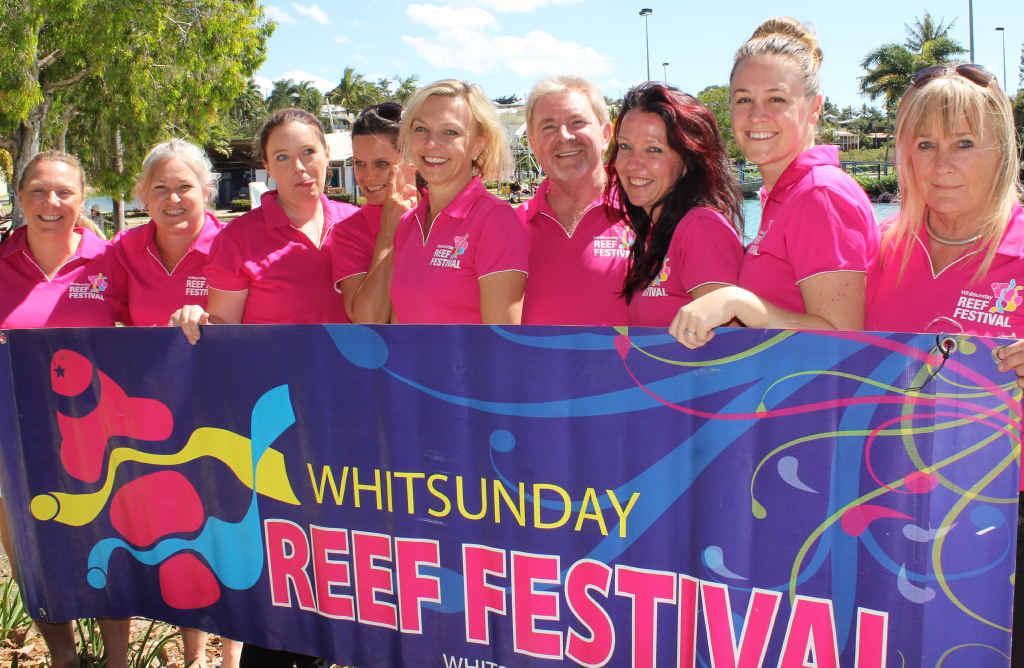 VOLUNTEERS: The Reef Festival committee in 2016 are: Lisa Irish, Stacey Harvey, Jasmin Lear, Rebecca Ross, Margie Murphy, Steve McDonald, Lisa Stockow, Jenn Rattray and Ellen Kerr.