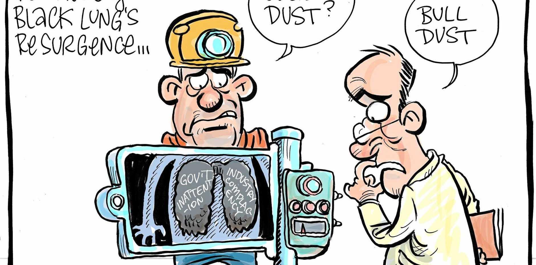 Harry Bruce cartoon - black lung disease