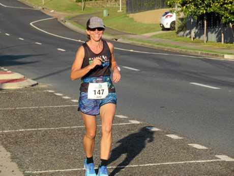 June Bradley enjoys running up the hills during the Eimeo 14km run.