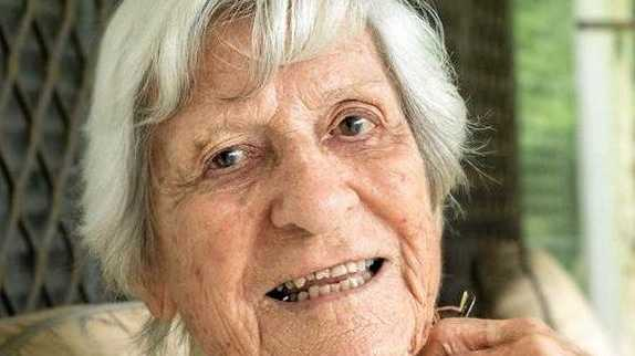 OBITUARY: Anne (Nancy) Roberts photographed on the verandah of her home in Sarina in May this year.
