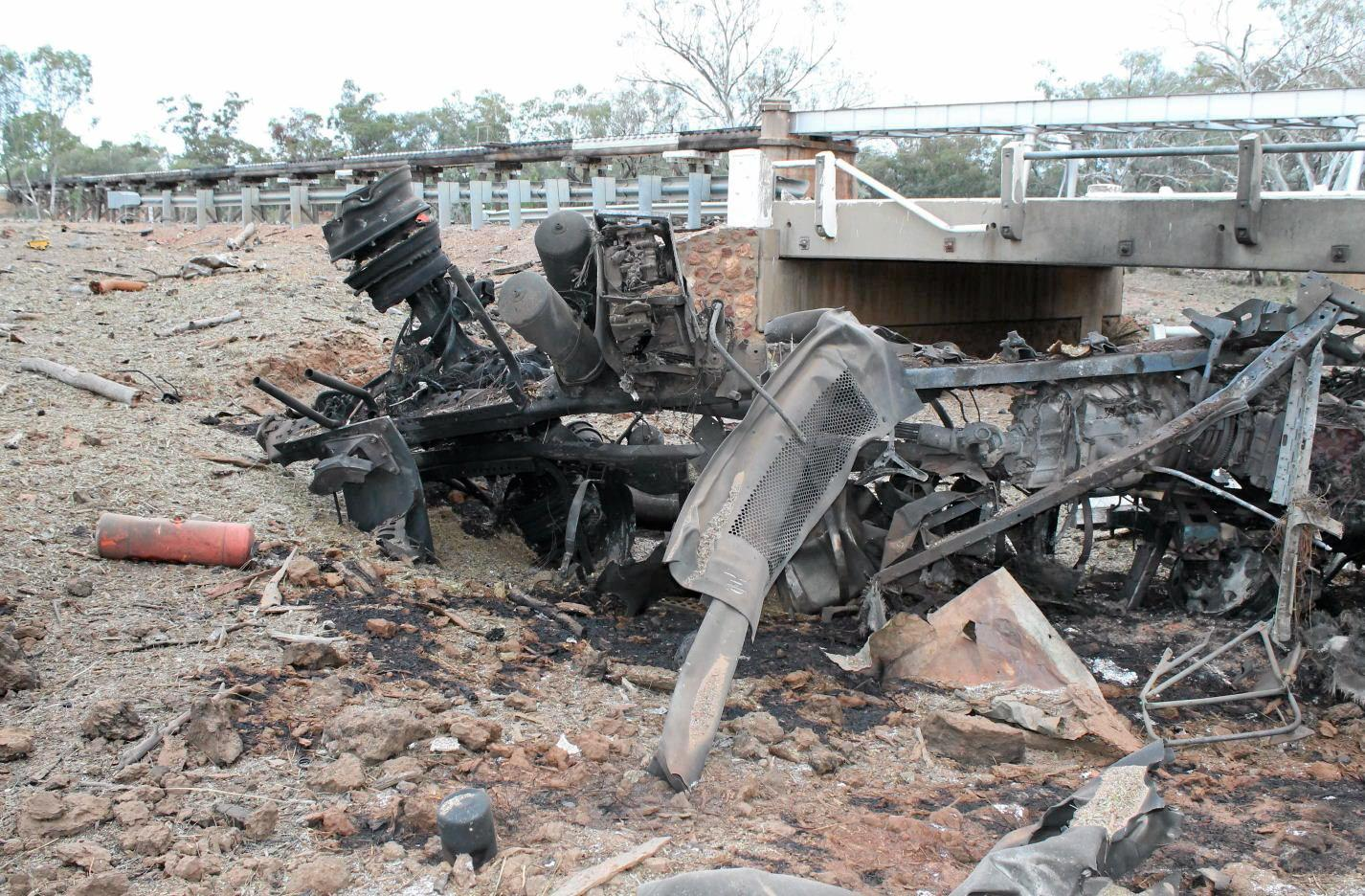 The scene of an explosion caused after a truck carrying fertiliser crashed and rolled on Cunnamulla Rd between Charleville and Wyandra.  Photo Contributed