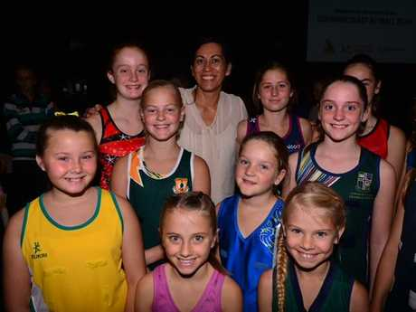 Leala, Caitlin, M'lea, Ruby, Mia, Shannon, Paige, Kate and Amber with coach Noeline Taurua at the name reveal.