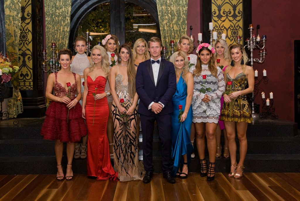 The Bachelor Richie Strahan pictured with the Top 11 bachelorettes.