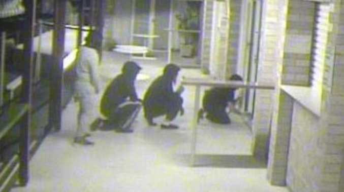 Four men force their way into the Tin Can Bay Bowls Club in the early hours of Tuesday August 16.