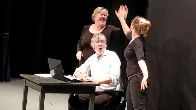 Joy Marshall, Simon Denver and Anna McMahon star in I Hate My Job, written and directed by Simon Denver for the Sunshine Coast Theatre Festival.