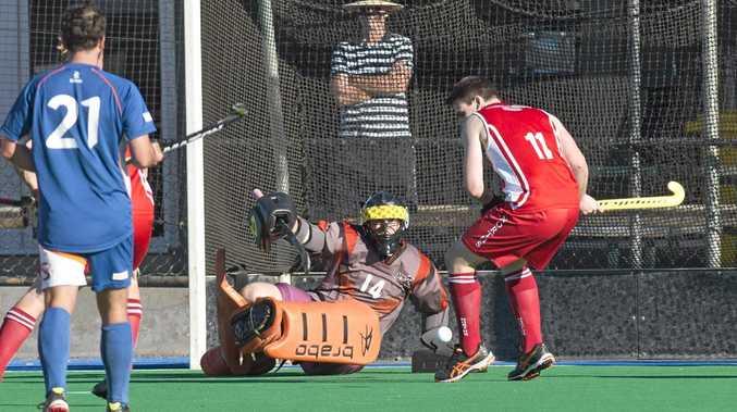 DIVE: Norths goal keeper Kyah Andrew-Sharrad stops a goal