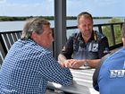 Black lung sufferers and former Bowen Basin miners Keith Stoddart, 66, and Stephen Mellor, 39, chat with CFMEU district president Stephen Smyth.