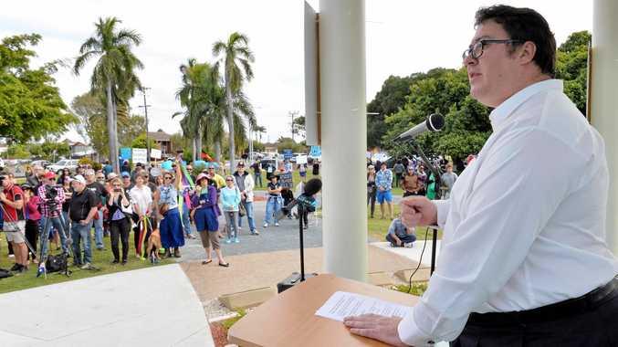 Dawson MP George Christensen speaks at a Reclaim Australia Rally in Mackay last year.